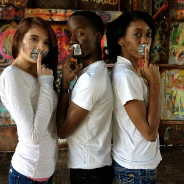 KJ - I have the best friends a gay guy could ask for! From left to right Jessica, Keno (myself), and Amber supporting NOH8