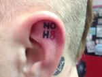 Joseph Lee - NOH8 tattoo!! Got this done inside both my ears. Its has a lot of people talking :)