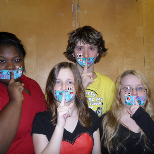 Matthew Nairn - Izzy McCoy, Matthew Nairn, Bre-enna Davis, and Kaylynn Davis show their support for NOH8 by voluntarily silencing themselves for an entire school day.
