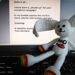 Astrid Anderssen - I had so much fun while crocheting this bunny and want to share it with you. One of my daughters live in Austria and is going to marry her girlfriend in July and I'm so proud and happy about this. Your campaign - I follow on Facebook - inspired me to make this Bunny...
