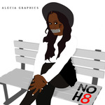 Alecia Lewis - An illustrative drawing of myself campaigning NO H8. 