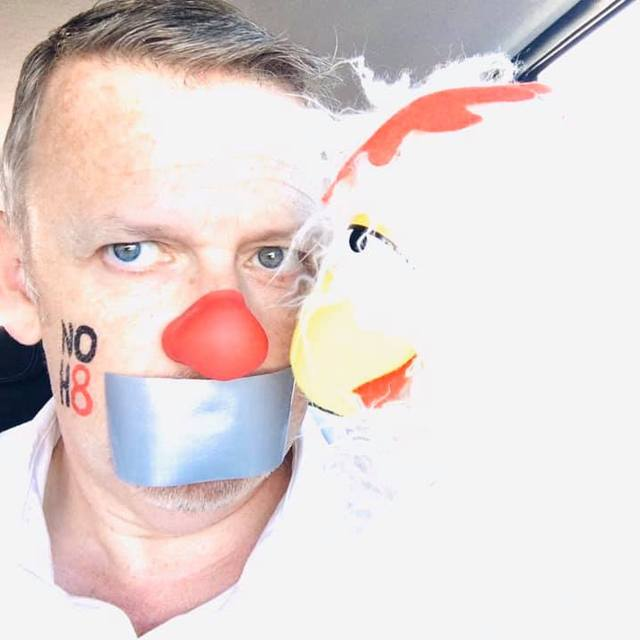 Bullseye The Clown - First Chicken and Clown to be photographed by NOH8...OFFICIAL Photo coming soon!